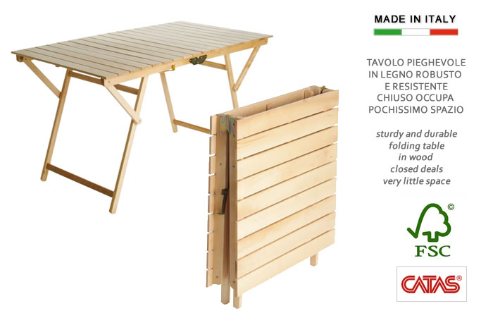 Cerchi tavolo in legno ripiegabile a valigetta h8223 for Tavolo di legno pieghevole