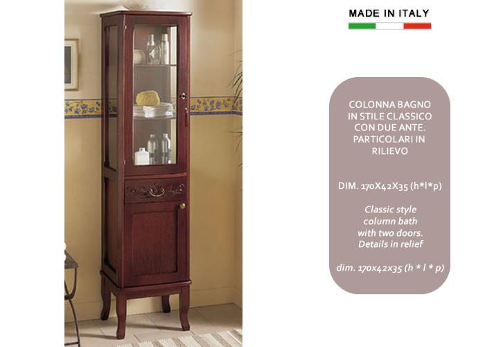 Cerchi colonna bagno classica in legno con anta in vetro - Mobile colonna per bagno ...