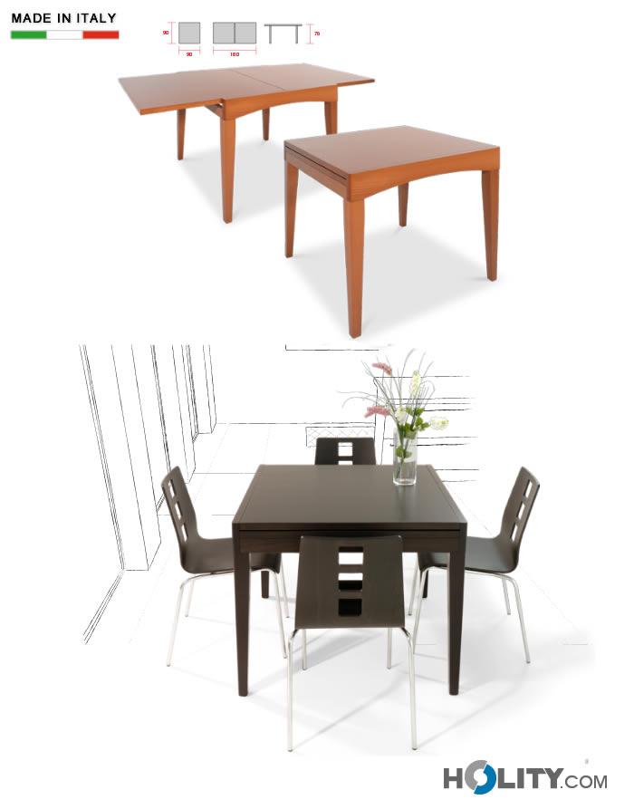 Cerchi tavolo in legno quadrato allungabile h13015 ampia - Tavolo quadrato allungabile legno ...