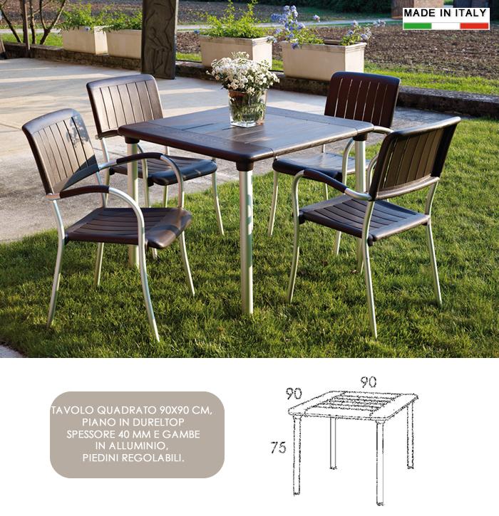 Tavolo Quadrato Da Esterno.Cerchi Tavolo Quadrato In Resina E Alluminio 90x90 H13325 Ampia