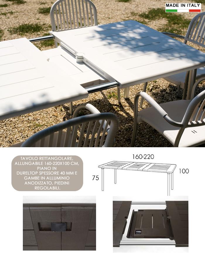 Tavoli Di Plastica Da Giardino Allungabili.Cerchi Tavolo Rettangolare Allungabile In Resina E Alluminio H13324