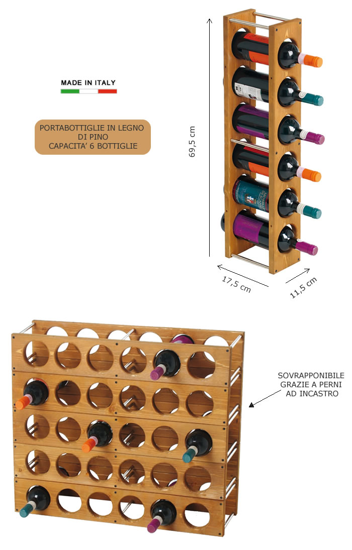 Portabottiglie in legno di pino h8217