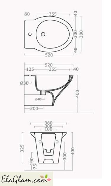 Sanitari Bagno Sospesi H11640 Dimensioni Bidet