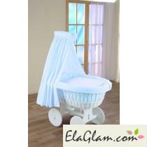 Culla neonati in vimini con ruote e velo h16607