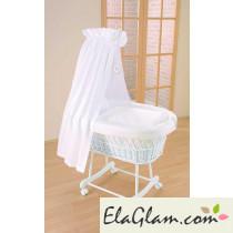 Culla neonato in vimini con velo h16621