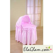 Culletta per neonati in vimini con cappottina pieghevole h16632
