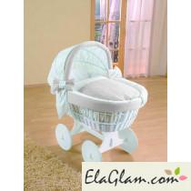 Culletta per neonato in vimini con capote e ruote h16618