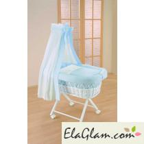 Culletta per neonato in vimini con velo h16627
