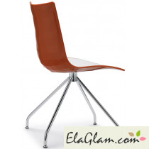 Sedia bicolore in polimero su trespolo h74115 bianco + arancio