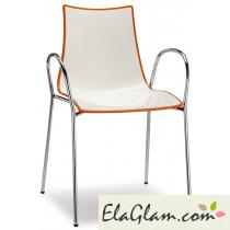 Sedia in bicolore in policarbonato con braccioli h74113 bianco + arancio