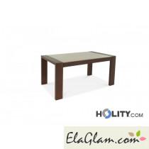 Tavolo rettangolare allungabile in legno con piano in vetro h13019