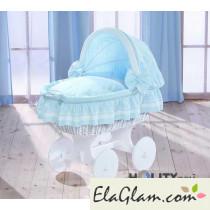 Culletta per neonati in vimini con ruote e cappottina h16654