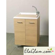 Lavatoio con vasca in resina e asse in legno h15615
