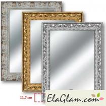 Specchio molato con cornice in legno h11822